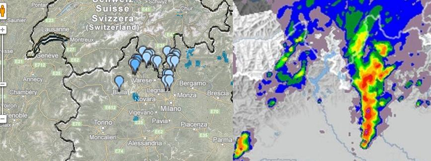 Confronto previsione indice rischio grandine su varesotto, lariano, milanese, bresciano 09 Giugno 2012
