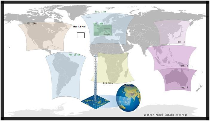 Risoluzione dei modelloi WRF Datameteo nel mondo