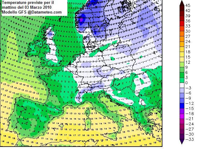 Meteo del 03 Marzo sull'Europa con focus Temperature
