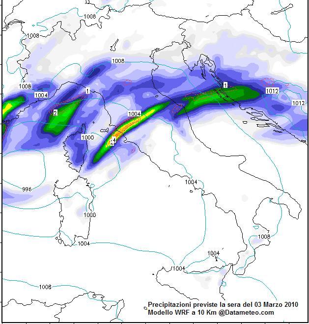 Meteo del 03 Marzo sull'Italia con focus Precipitazioni