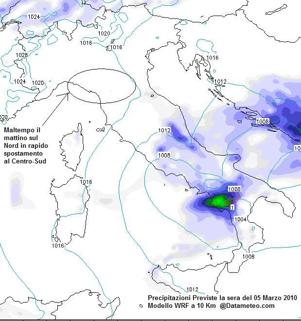 Meteo del 05 Marzo 2010 sull'Italia con focus Precipitazioni