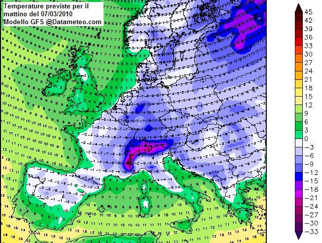 Meteo del 07 Marzo sull'Europa con focus Temperature