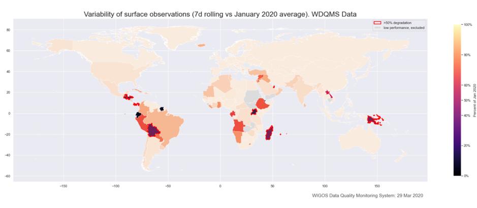 grafico diminuzioni osservazioni meteo a livello mondiale