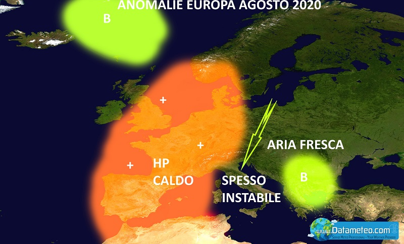 Carta previsioni meteo estate 2020