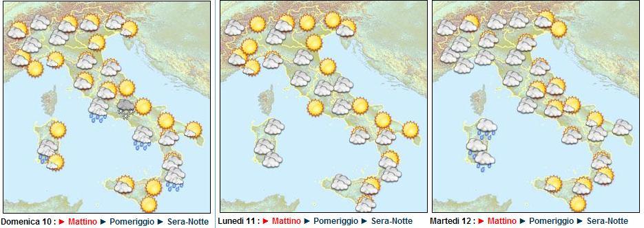 meteo dal 12 al 14 Gennaio 2010