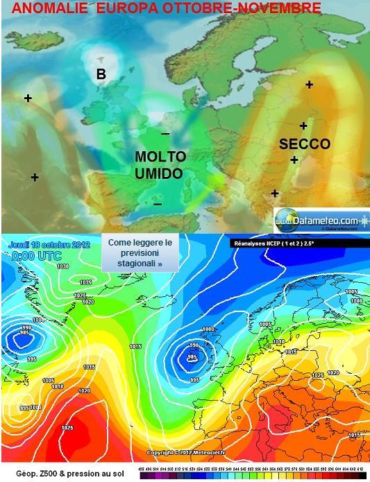 Confronto tra la tendenza stagionale datameteo ottobre - novembre 2012 e la sinottica