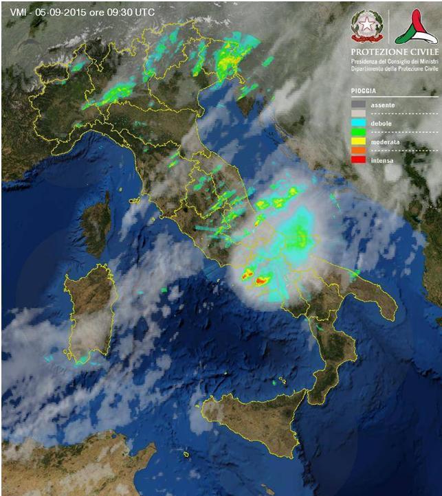 immagine radar supercella MCS sul Golfo di Napoli il 5 Settembre 2015