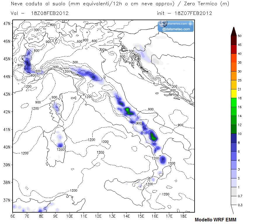 Modello WRF EMM precipitazioni nevose passate 12 ore centrate il 04 Febbraio 2012 sera