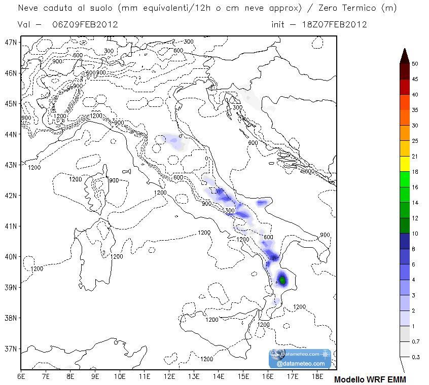 Modello WRF EMM precipitazioni nevose passate 12 ore centrate il 09 Febbraio 2012 sera