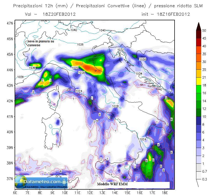 Modello WRF EMM a 7.5 Km pioggia cumulatasi il 20 Febbraio 2012