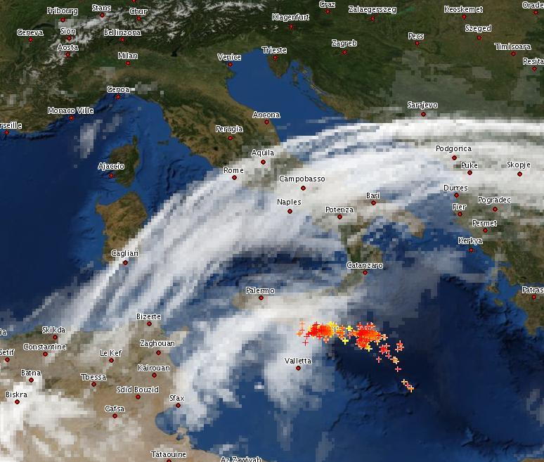 MeteoAtlas Fulminazione 10 Marzo 2012 Sera
