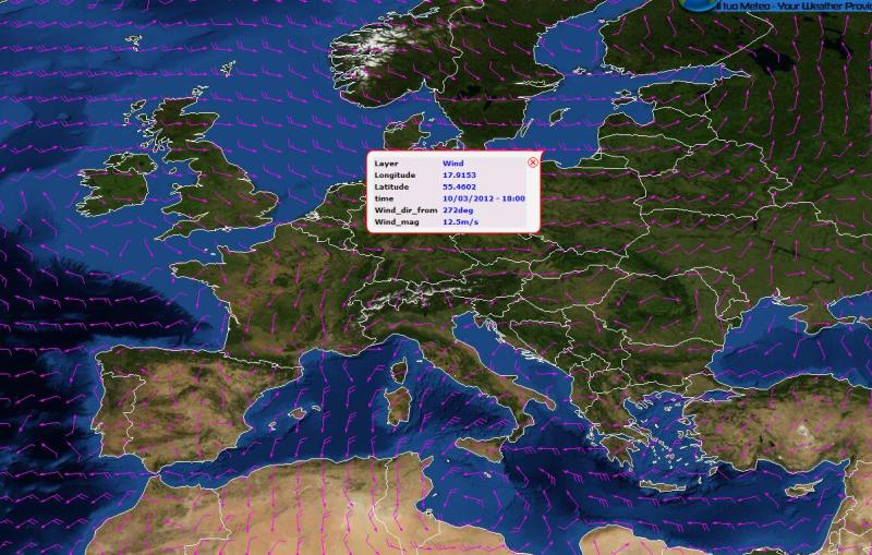 Meteo Atlas Previsione vento 12 Marzo 2012