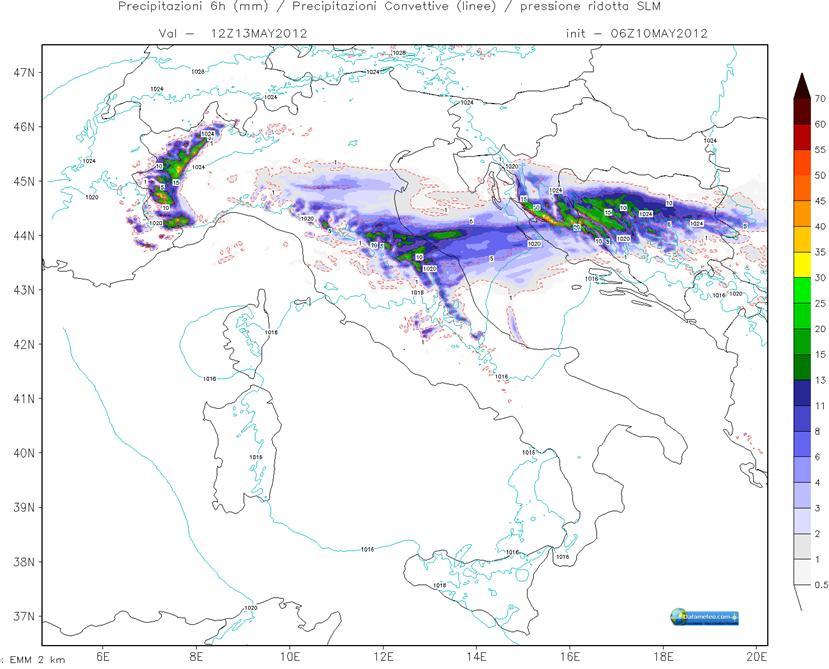 Modello WRF EMM Carta Precipitazioni