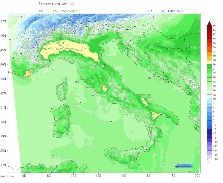 Modello WRF EMM Carta Temperatura a 2 m