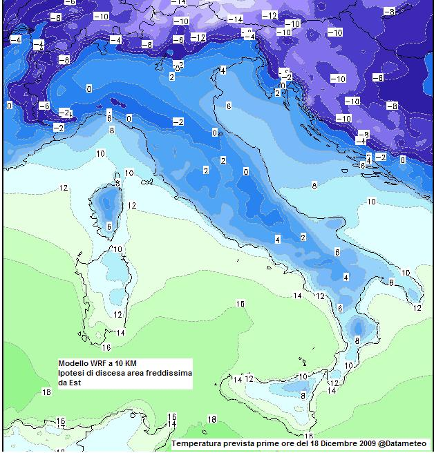 carta temperature  WRF a 10 km  del 18/12/2009 al mattino