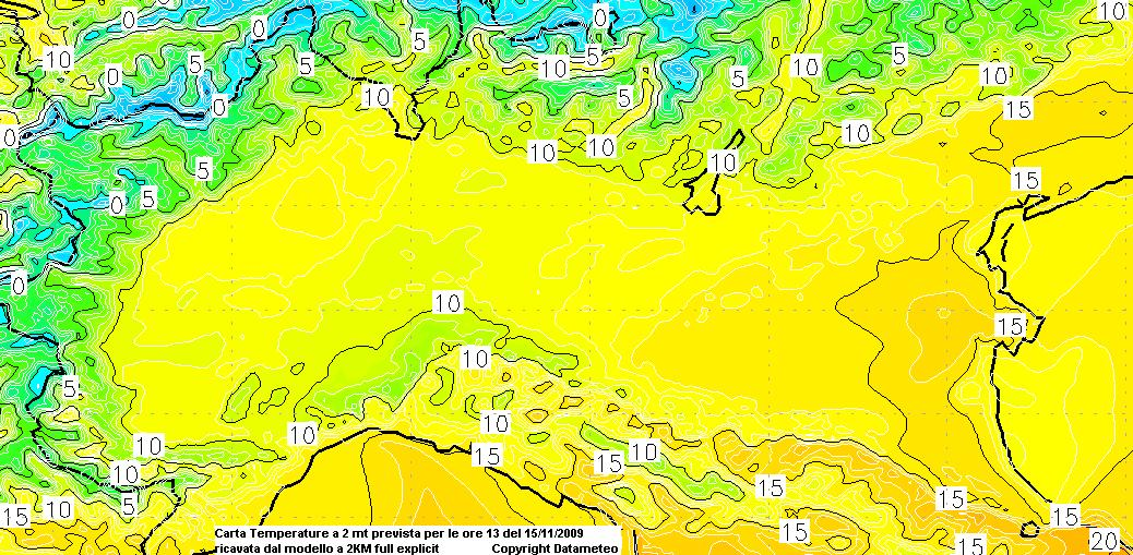carta a 2Km distribuzione temperature a 2 mt