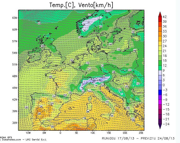 previsioni vento e temperatura