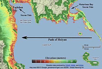 Altezza raggiunta dalle onde dello Tsunami a seguito tifone Yolanda zona di tablocan