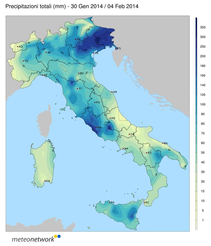 Precipitazioni Italia fine Gennaio Inizio Febbraio 2014
