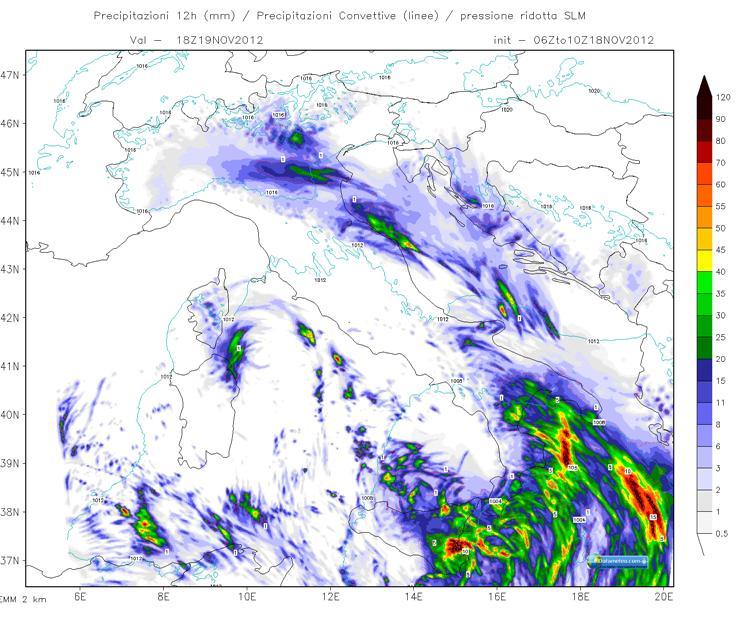 Modello WRF EMM a 2 Km precipitazioni 12 ore del 19 Novembre 2012