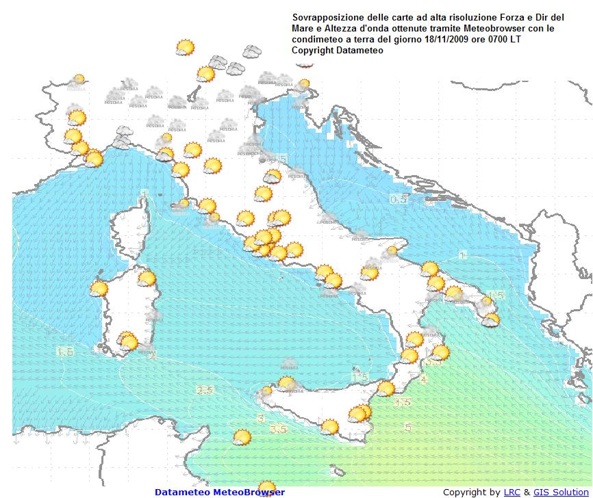 carta altezza onde,dir forza mare il 18 novembre ore 0700 LT