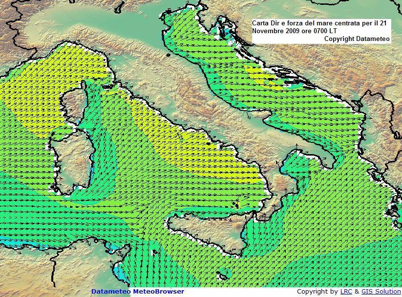 carta altezza onde,dir forza mare il 21 novembre ore 0700 LT