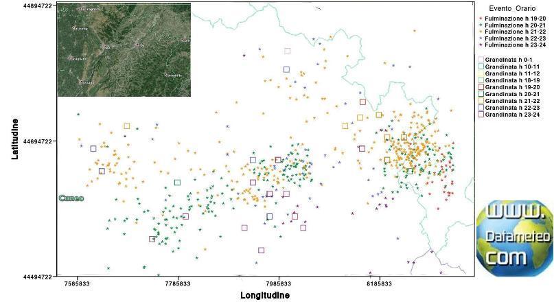Validazione report grandinate confronto con modello meteo e fulminazione