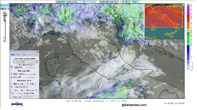 Meteobrowser con sovrapposizione radar e satellite