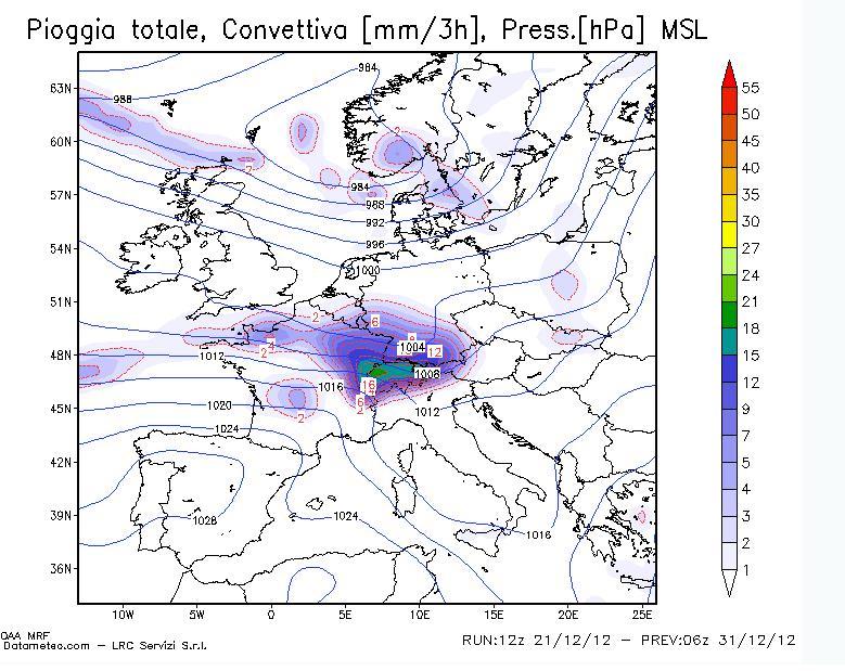 Precipitazione Modello GFS prevista il 31/12/2012